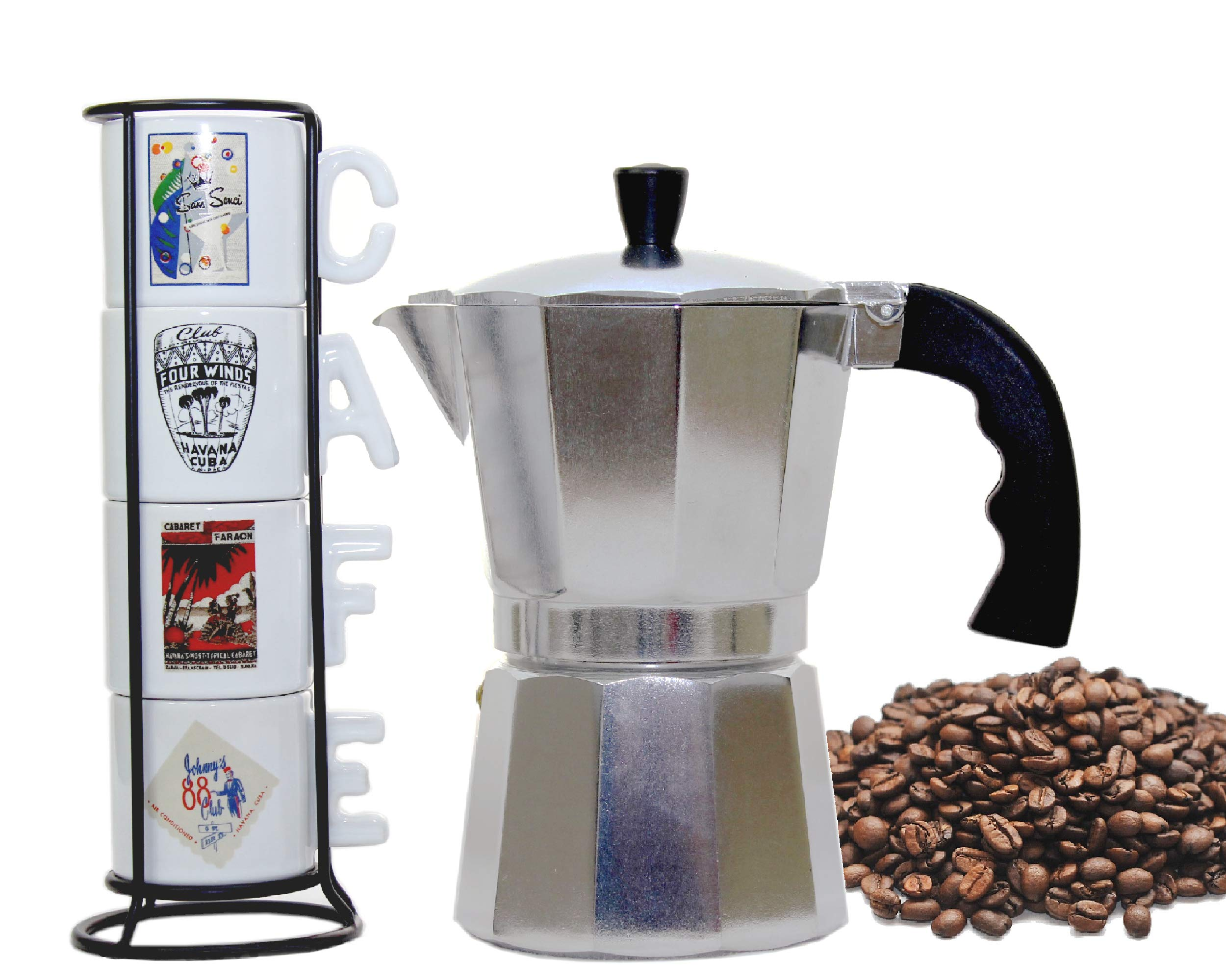 Imusa Classic Aluminum Stovetop Espresso Coffee Maker/Moka Pot 6-cups. Bundled with a White Coffee Mugs Set of 4 Printed with the most Famous Cuban Night Clubs and Black Rack.