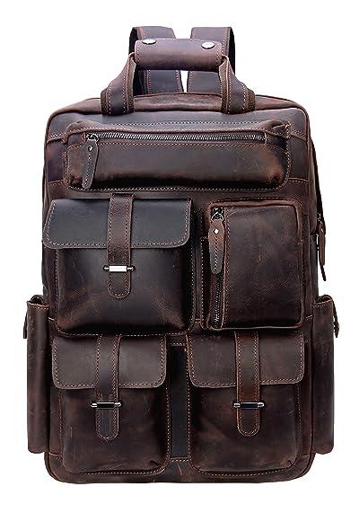 "Iswee Leather 16"" Laptop Backpack Vintage Travel Rucksack Overnight Weekender Bag School Daypack"