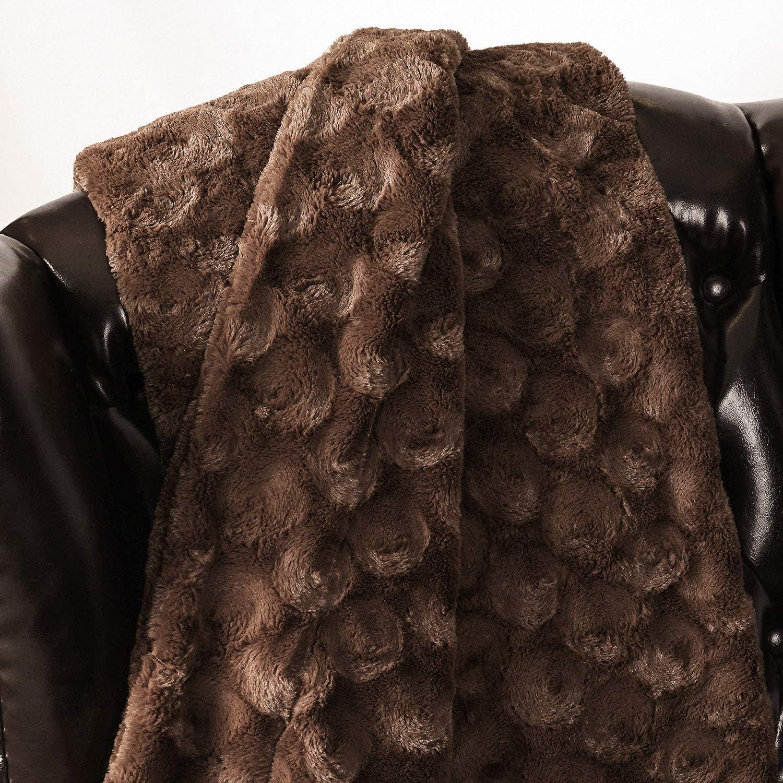 Couverture de Lit R/éversible Double Face Douce au Toucher Ecologique Souple Entretien Facile /à la Machine Chaude Yirantian Couverture Fausse Fourrure