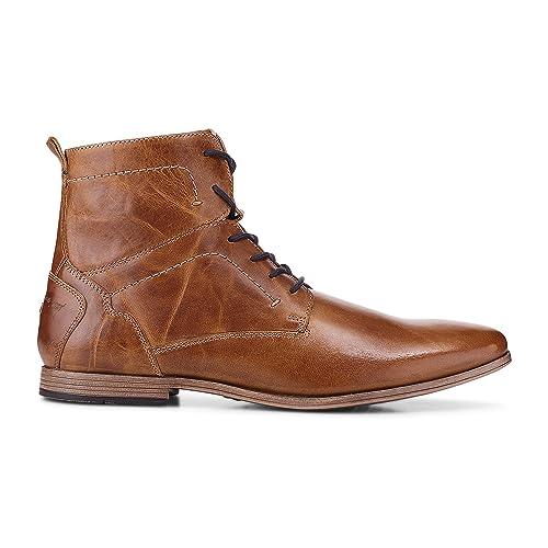 Cox Herren Herren Schnür Boots aus Leder, brauner Freizeit Stiefel mit robuster Laufsohle