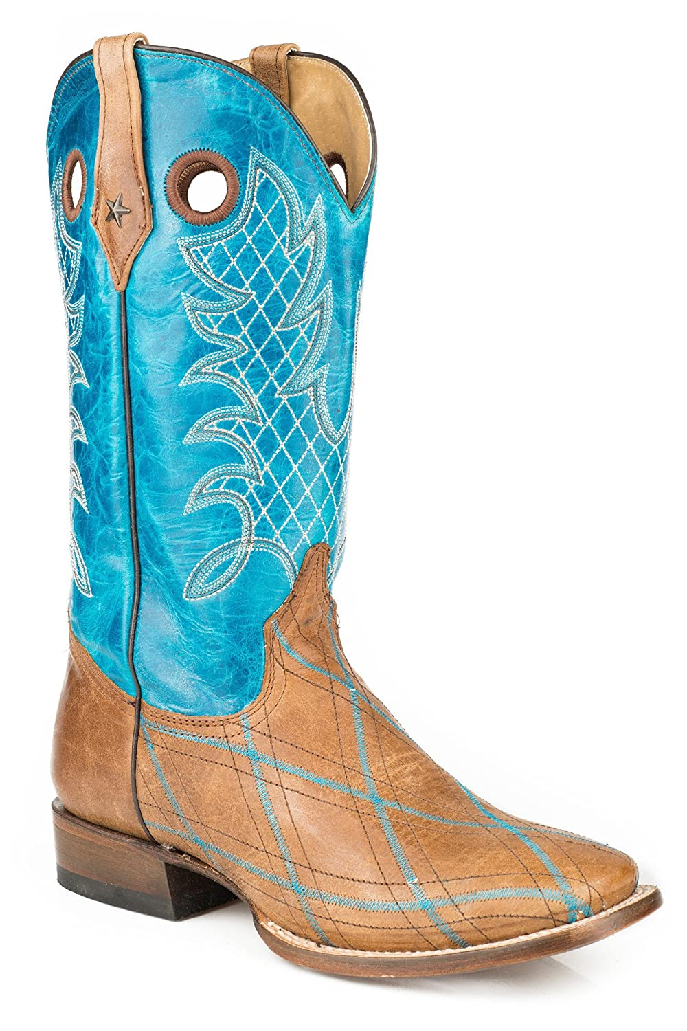 Roper Men's Embroidered Basic Cowboy Boot Square Toe - 09-020-7026-0736 Br
