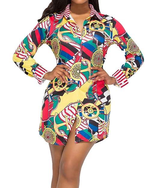 WOZNLOYE Primavera y Otoño Vestido de Camisas Mujeres Casual Impresion Corto Vestido de Playa Moda Solapa Manga Larga Vestidos de Cóctel Partido Fiesta: ...