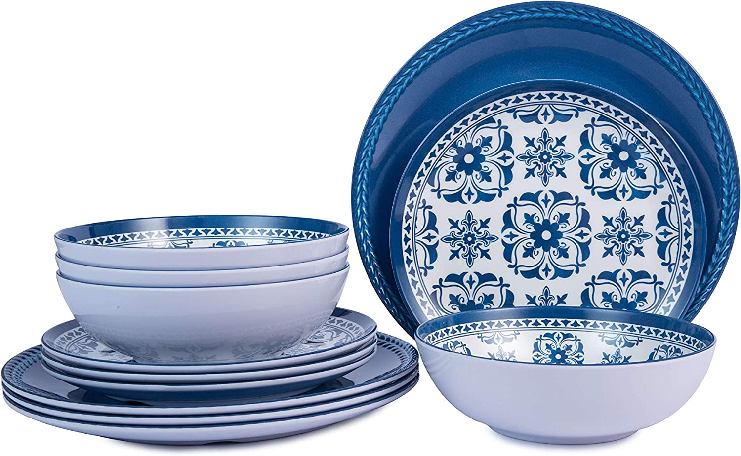 Melamine Dinnerware Set for 4-12pcs Outdoor Plates and Bowls Set , Dishwasher Safe, Blue Flower
