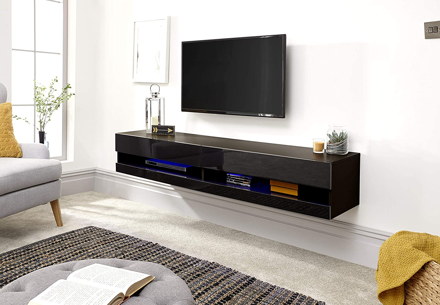 new style c17d2 23cab Galicia Wall Mounted Gloss TV Unit with LED - 120 & 180cm - Black, Grey or  White#180Black