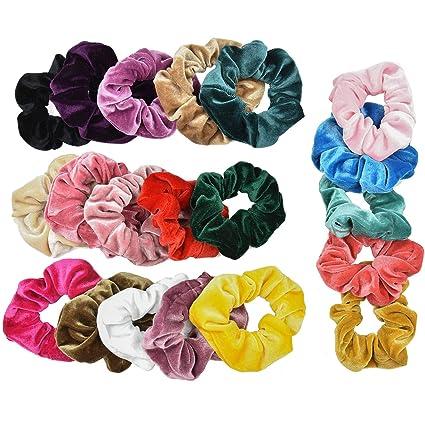 SANTOO 20 Piezas Scrunchies Velvet Elastic para Mujeres Niñas ...