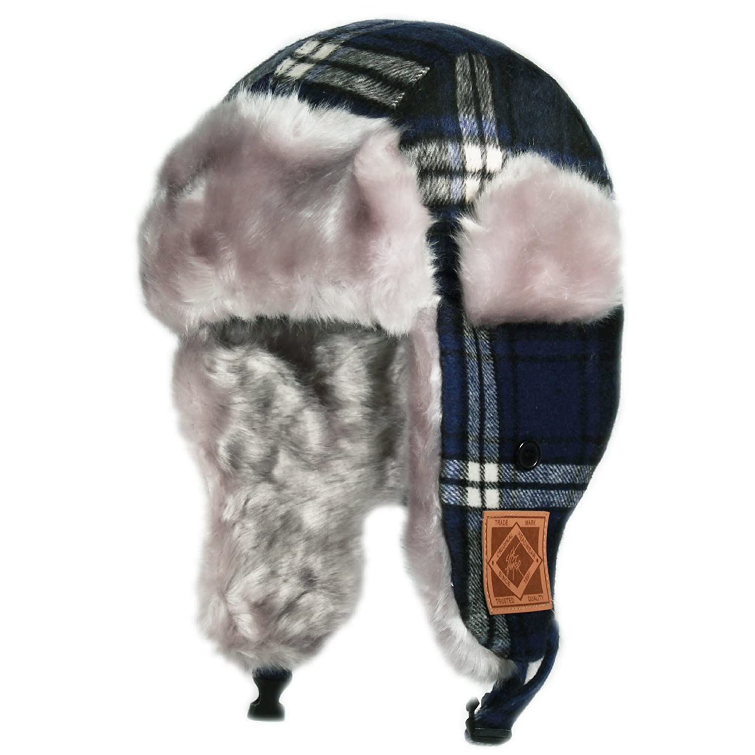 City Hunter Kw120 Premium Wool Plaid Kids Trapper Bomber Hat - Navy