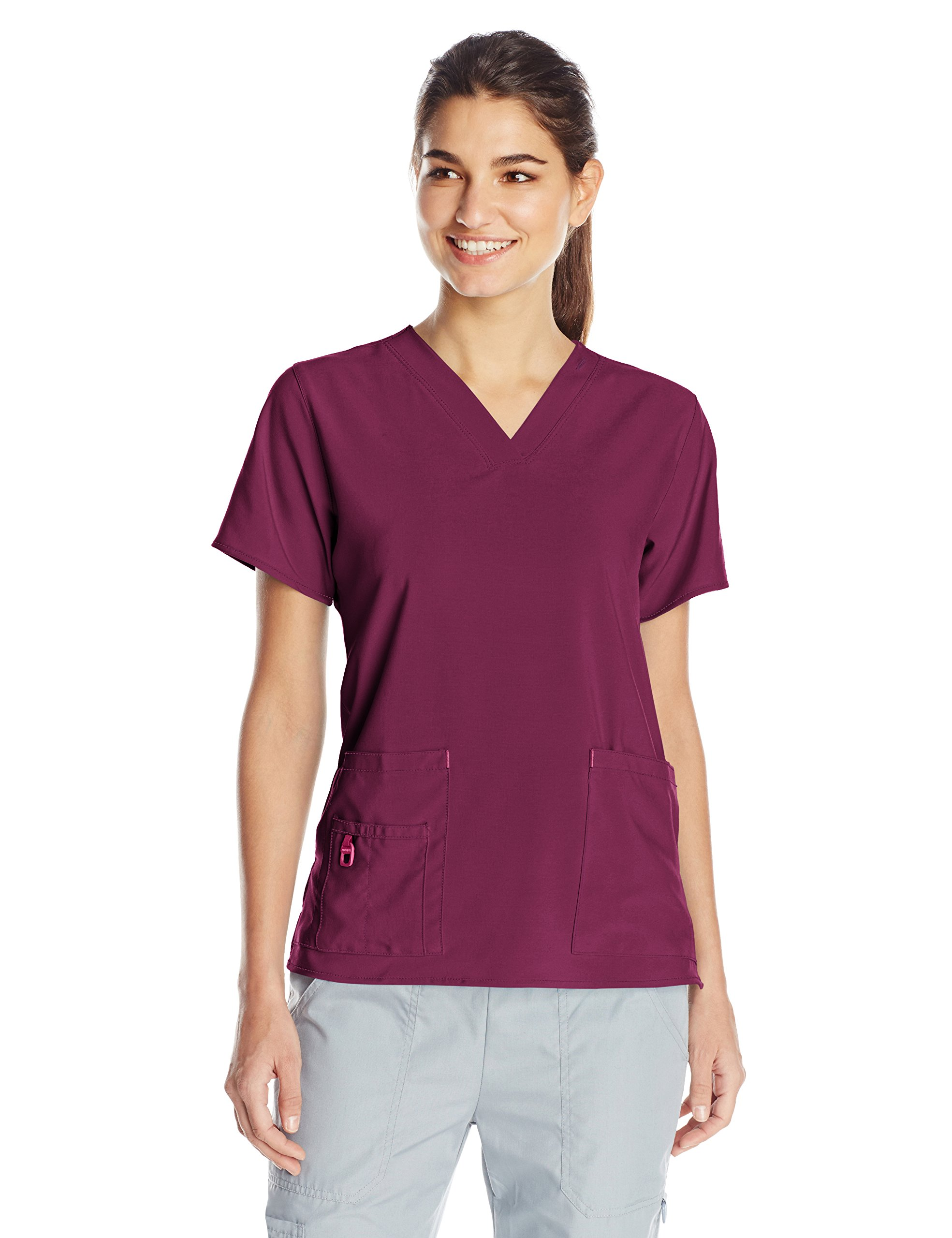 Carhartt Women's Cross-Flex Media Scrub Top, Wine, Large
