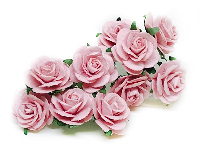 Amazon 1 blush pink paper flowers paper rose artificial 1quot blush pink paper flowers paper rose artificial flowers fake flowers artificial roses paper craft mightylinksfo