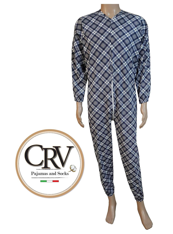 Pijama tut/ón sanitario para ancianos hombre mujer oto/ño invierno algod/ón c/álido traje sanitario fabricado en Italia pijama sanitario XL D 13 Blu