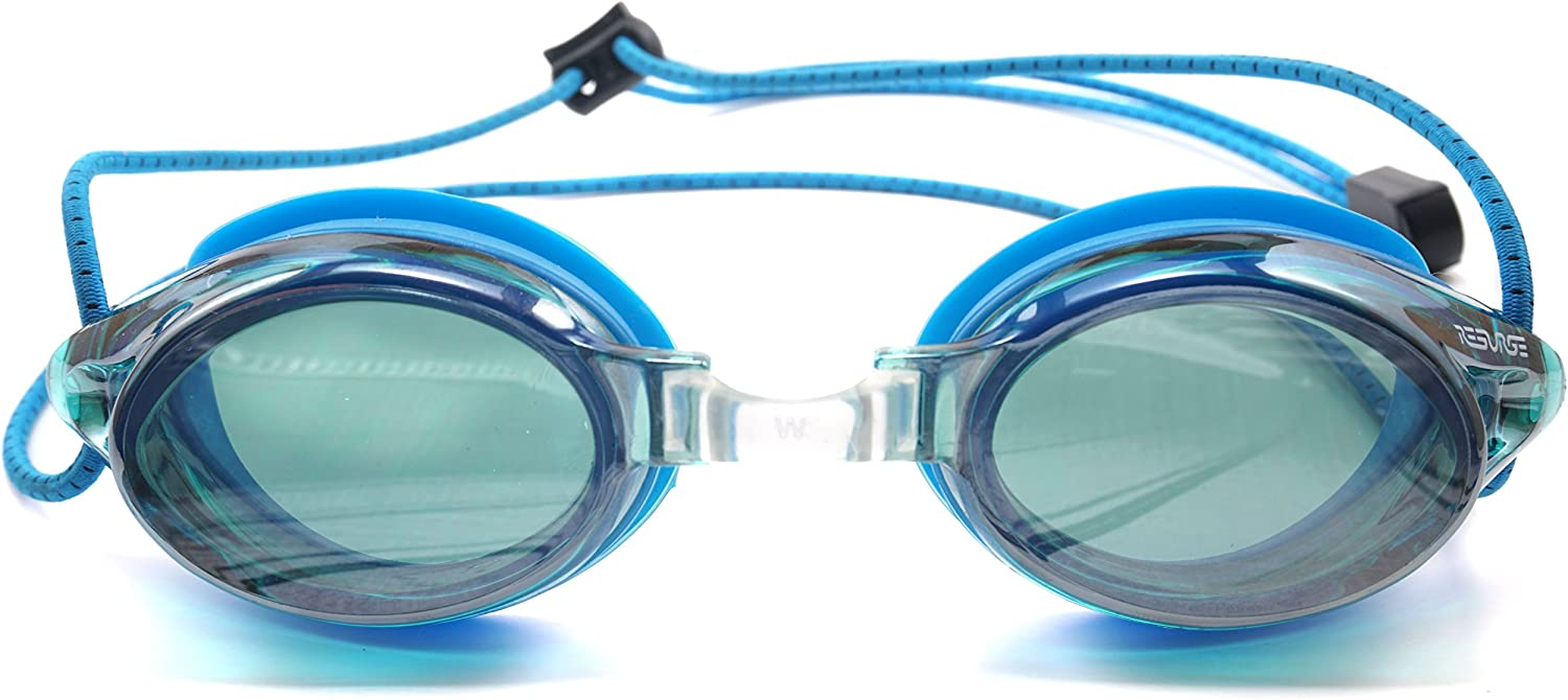 Resurge Sports Anti Fog Racing Swimming Goggles with Quick Adjust Bungee Strap Blue Mirrored
