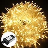 Excelvan Safe Low Voltage 8 Modes 500 LEDs 100M/328FT Dimmable Fairy String Lights with Transparent String for Bedroom Patio Garden Gate Yard Party Wedding Christmas Decoration, Warm White