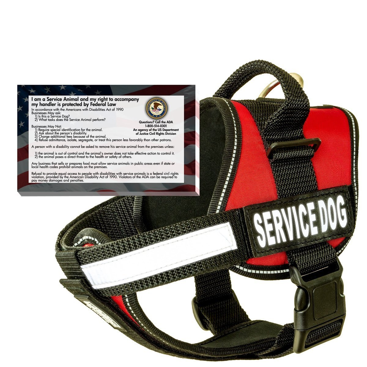 barkOutfitters Service Dog Vest Harness 50 FREE ADA Info Cards Kit (Red, (17'' - 23'') Girth
