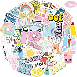 50 Pcs VSCO Stickers for Hydro Flask, Water Bottles Laptop Vinyl Trendy Stickers for VSCO Girls, Kids, Teens, Women (Pink)
