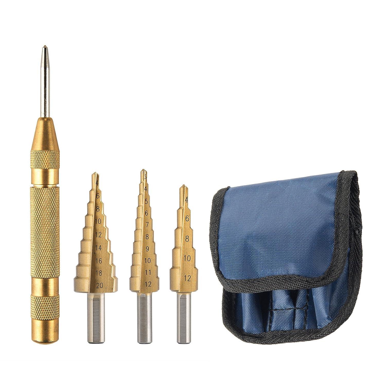 CO-Z Juego de Brocas de Titanio de 4 Piezas con Punzó n Central, Acero de Alta Velocidad, 3-12 mm, 4-20 mm, 4-32 mm