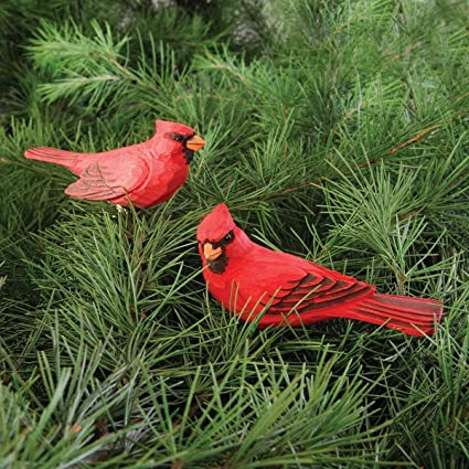 cardinal clip christmas ornament assortment of 2 wood - Red Cardinal Christmas Decorations