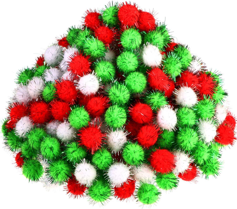 Hestya 500 Piezas 0,5 Pulgada Pompones de Navidad Brillantes para Materiales de Manualidades y Afici/ón Verde Claro