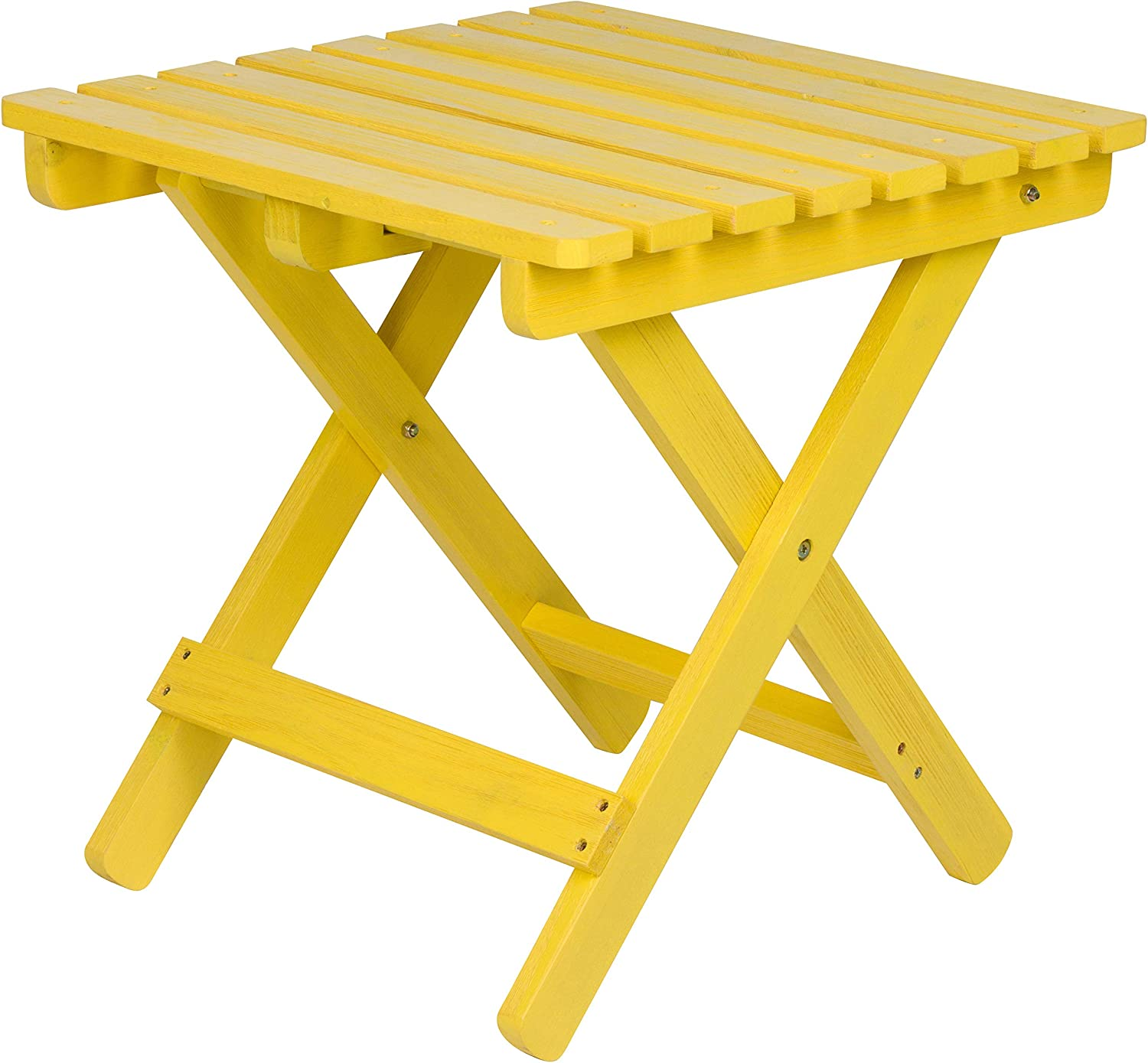 Shine Company 5109SF Square Folding Wooden Side Table, Sunflower