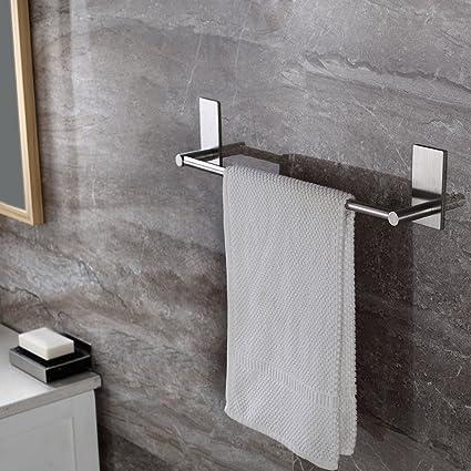 Amazon.com: Taozun Self Adhesive 16-Inch Bathroom Towel Bar Brushed ...