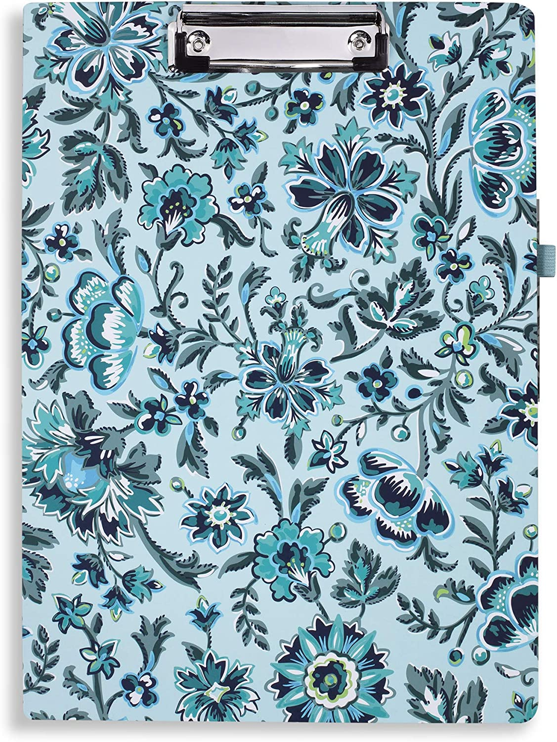 Vera Bradley Women's Blue Floral Clipboard Folio with Refillable Lined Notepad, Interior Pocket, and Pen Loop, Cloud Vine
