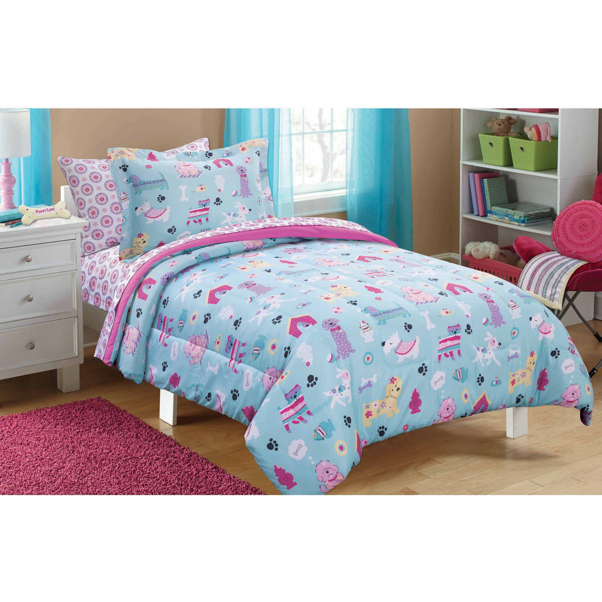 Mainstays Kids Puppy Love Whimsical Flower pattern Reversible Solid Pink Full Bedding Comforter for Girls (7 Piece in a Bag)