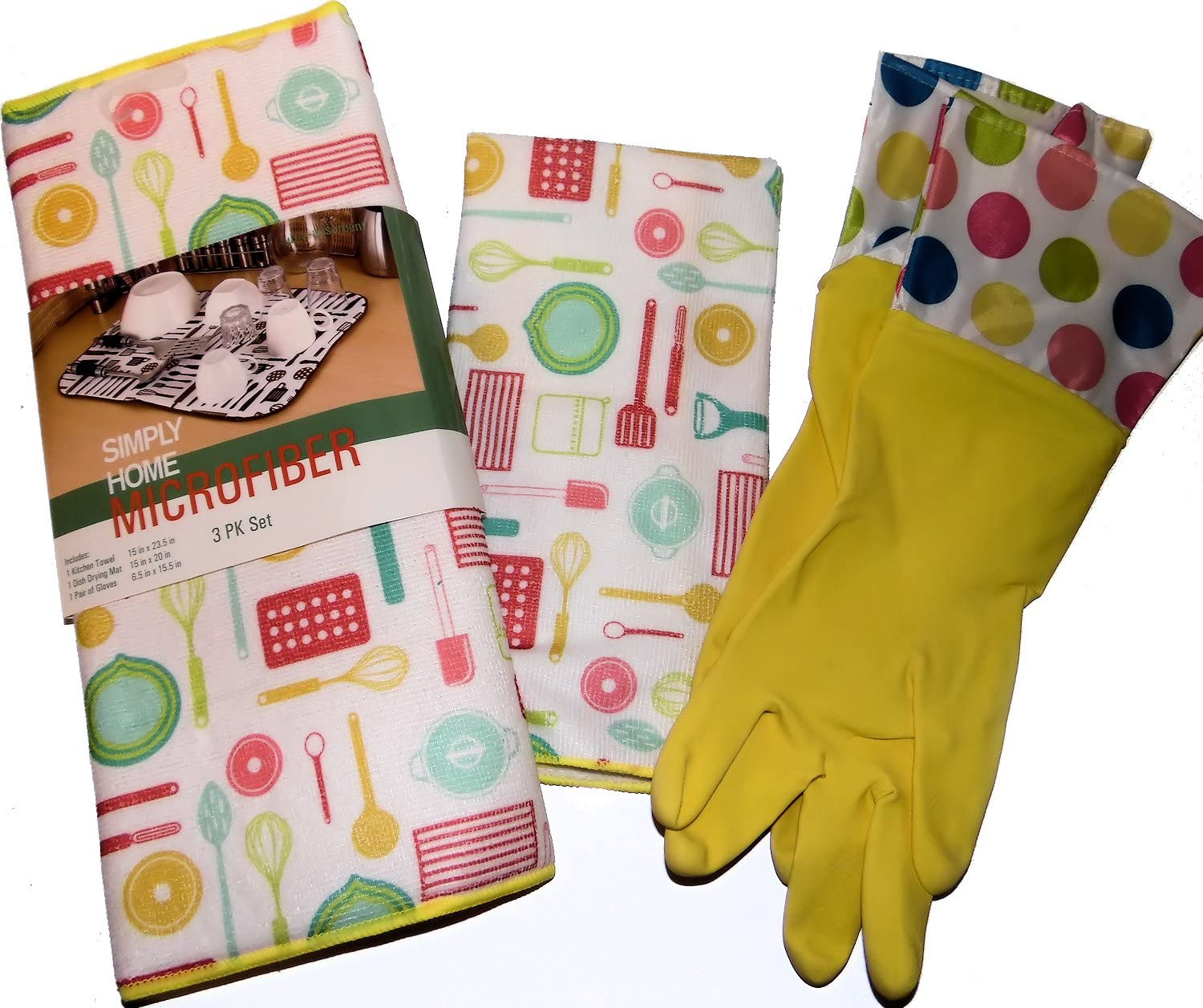 Towel /& Gloves Simply Home Yellow Colorful Kitchen Gadgets Linen 3 Piece Gift Set Microfiber Drying Mat