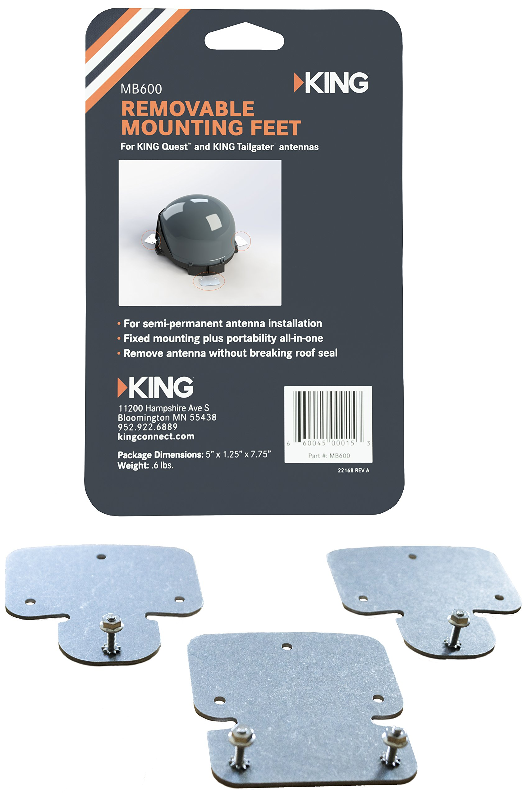 KING MB600 Removable Roof Mount Bracket Tailgater and Quest Satellite Antennas by KING