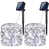 AMIR Solar Powered String Lights, 100 LED Copper Wire Lights, Starry String Lights, Indoor/Outdoor Waterproof Solar Decoration Lights for Gardens, Home, Dancing, Party Snow Globes(White - Pack of 2)