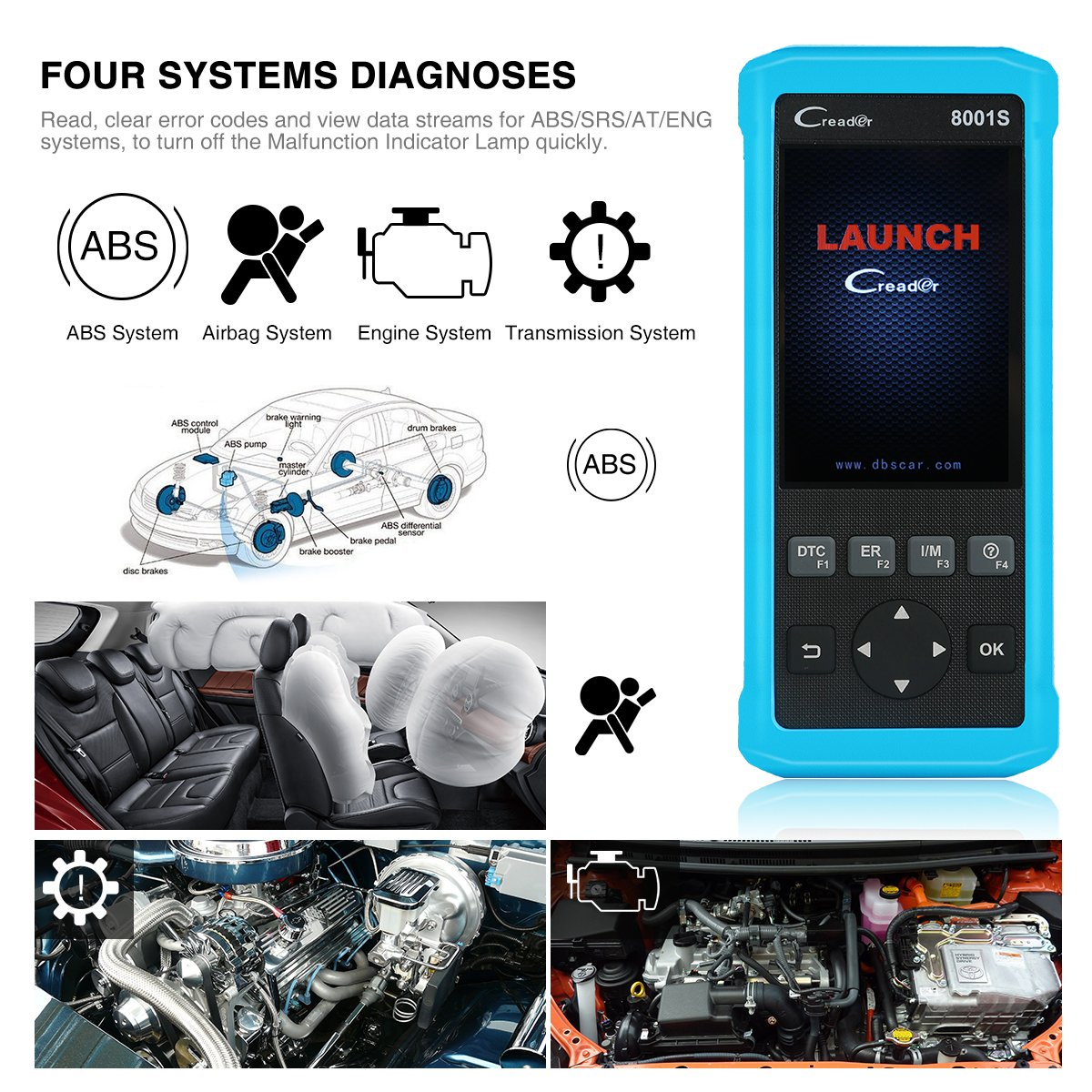 LAUNCH CR8001S Auto Scan Tool Code Reader Diagnostic OBD2 Scanner with ABS, SRS, Engine and Transmission Diagnoses and Oil Light Reset, EPB, SAS, BMS Reset by LAUNCH (Image #3)