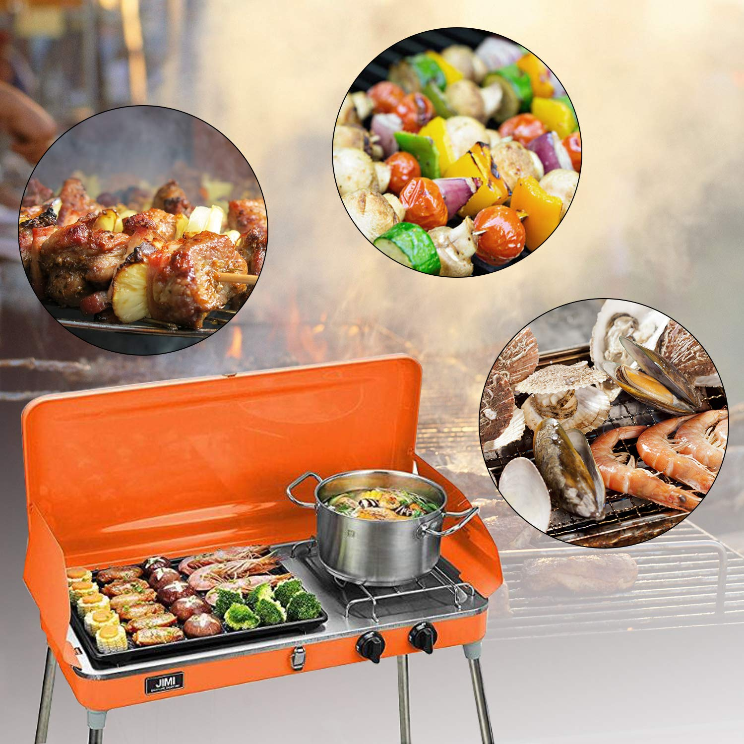 KOOLWOOM Portable Liquid Propane Grill,2 Burner Grill/Stove Barbecue Grill Outdoor Cooking Camping Stove Stainless Steel (Orange) by KOOLWOOM