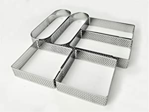 Newline NY Stainless Steel 6 Pcs Perforated Oval Rectangular Square Tart Rings Pastry Cake Molding Plating Set: 2 of each - Length 5