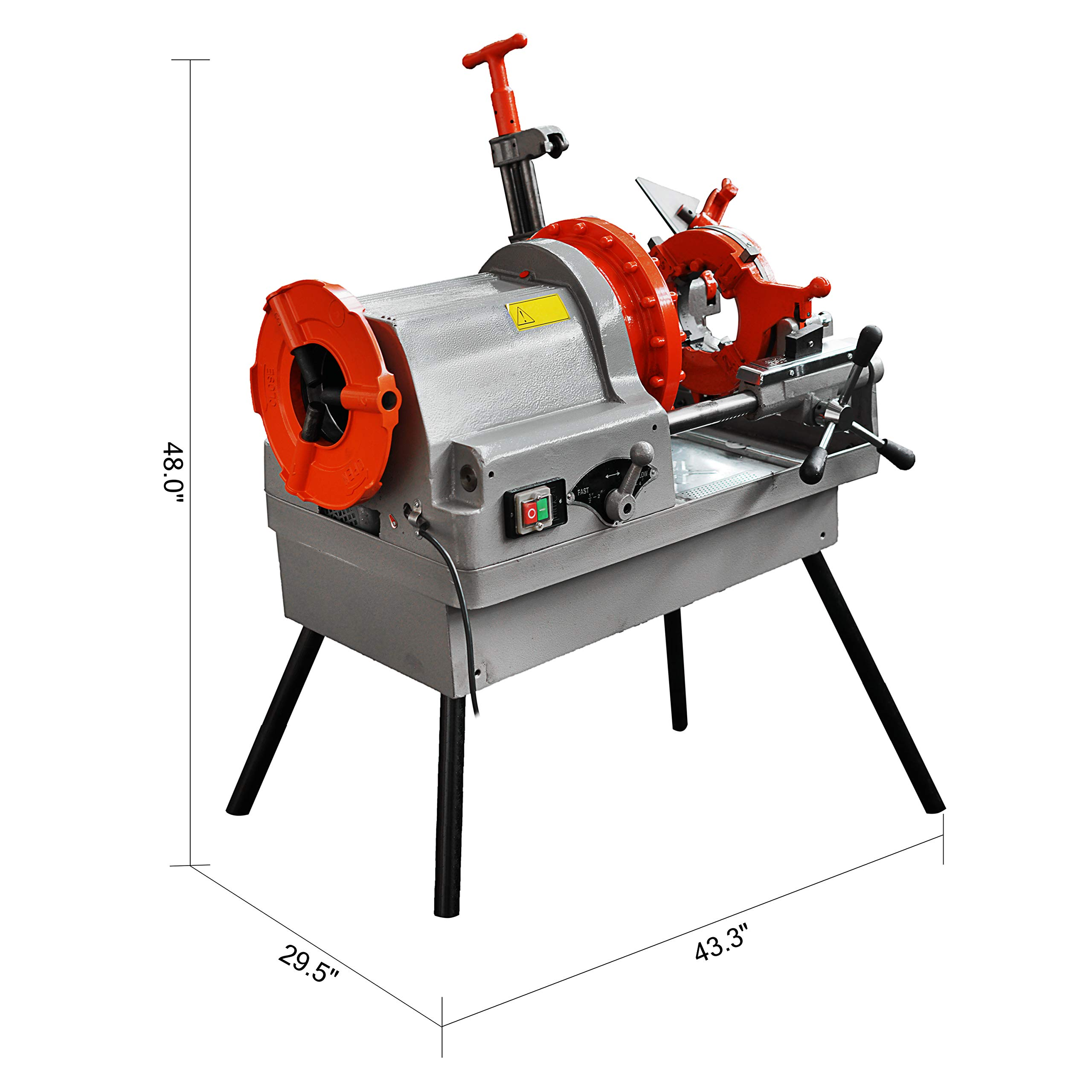 Mophorn Electric Pipe Threading Machine 1/2''-4'' Pipe Threading Cutter 750W Deburrer NPT P100 Upstanding by Mophorn (Image #1)