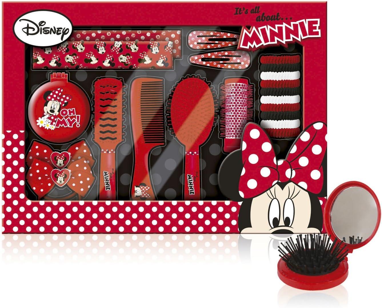 Disney Minnie - Estuche regalo (21 piezas: cepillo para el cabello, gomillas, banda, hebillas), diseño de Minnie Mouse: Amazon.es: Juguetes y juegos
