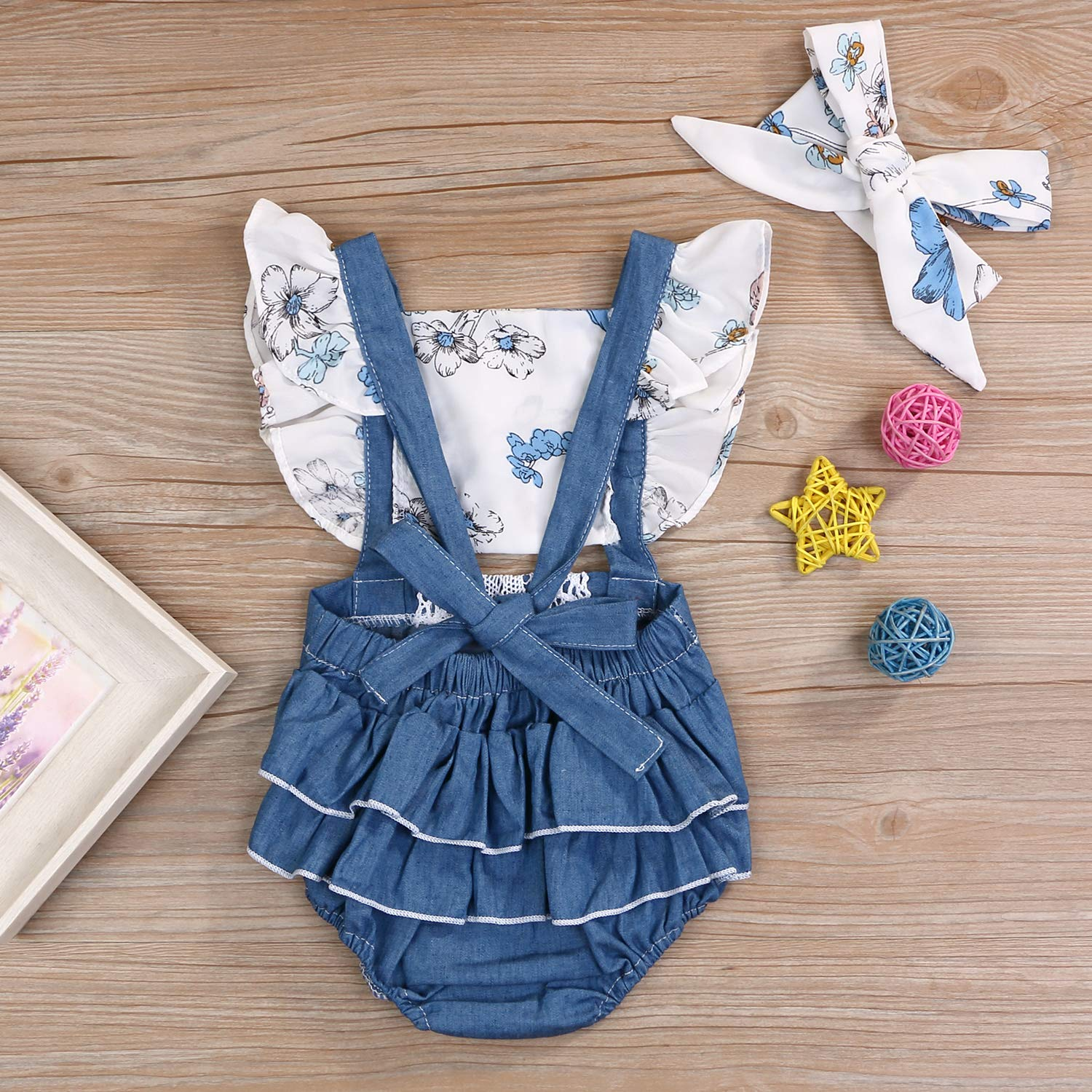 Newborn Baby Girls Floral Backless Lacing Ruffle Sleeve Summer Sunflower Romper OneSize Clothing