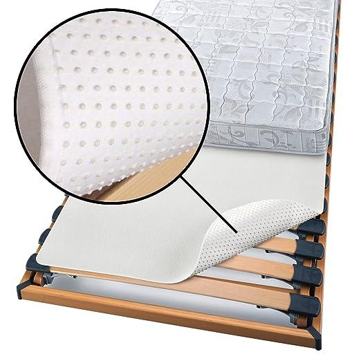 Beautissu Protector somier BEAUTECT embellecedor Cubre somier colchón con Nudos Tex ecológico Siegel Lavable Blanco 180x200 cm