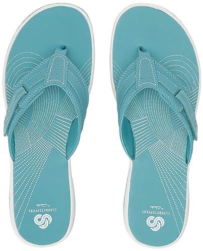 141c06516cc2 CLARKS Women s Brinkley Reef Flip-Flop Aqua sythetic 050 ...