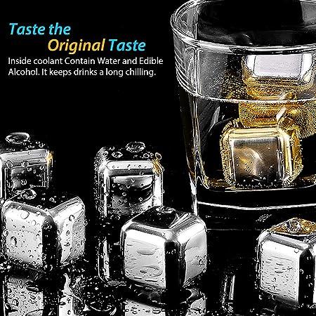 Familybox Cubos de Hielo de Acero Inoxidable para Whisky, 8 Cubos Enfriadores Piedras Reutilizables Refrigerantes con Pinzas y Caja de Almacenamiento, Ideal para Bar, Fiestas, Regalos para Hombres