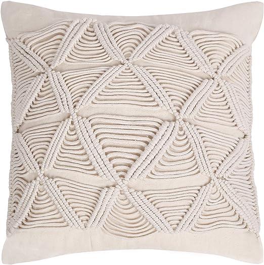 Fundas de cojín de macramé - Cuerda de algodón Funda de almohada hecha a mano Cable de