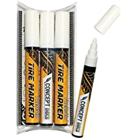 ConceptInks Premium Paint Pen, White Waterproof Markers for Car Tire Lettering, Made in Japan (3 Pack),