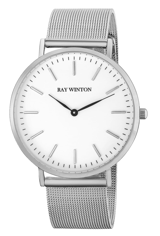 Ray Winton Herren Slim Analog weiß Zifferblatt Silber Edelstahl Mesh Armband Armbanduhr