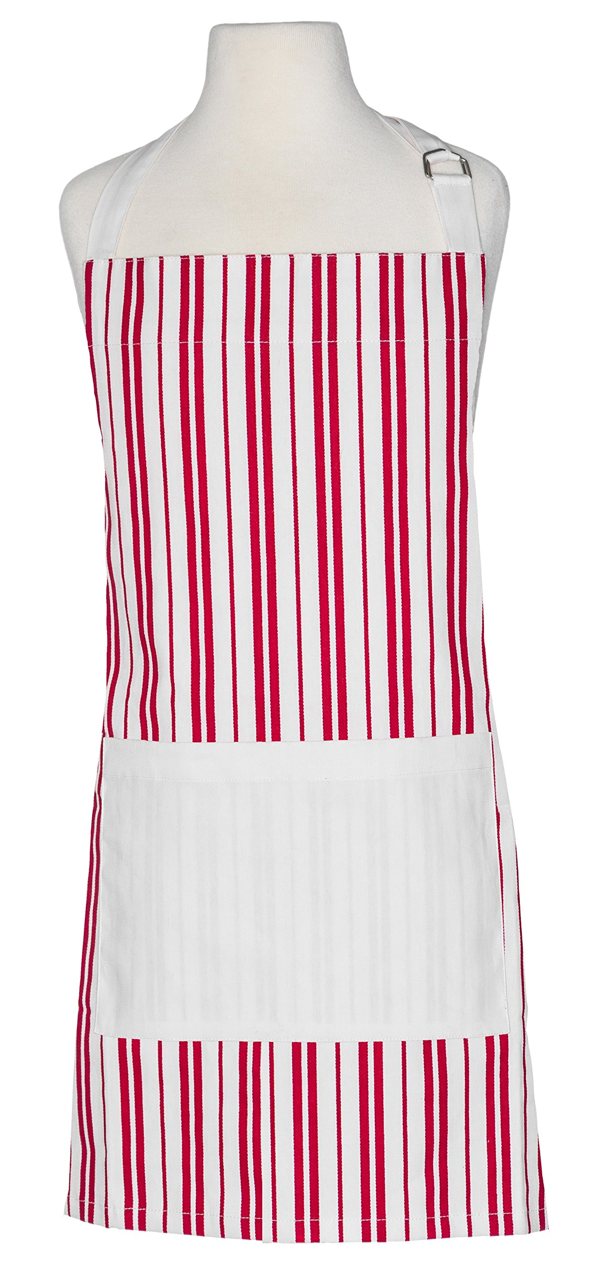 Handstand Kitchen Child's 100% Cotton Classic Red Stripe Apron with Wide Double Pocket