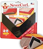 NeverCurl - Instantly Stops Rug Corner Curling. Safe for wood floors. For Indoor & Outdoor Rugs. Includes 4 pcs. Not an anti-slip pad. Made in USA.