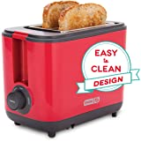 Dash DEZT001RD 2 Slice Extra Wide Slot Easy Toaster with Cool Touch + Defrost Feature, for Bagels, Specialty Breads…