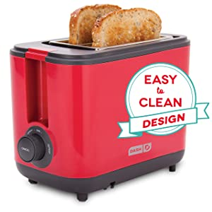 Dash DEZT001RD 2 Slice Extra Wide Slot Easy Toaster with Cool Touch + Defrost Feature for Bagels, Specialty Breads & other Baked Goods Red
