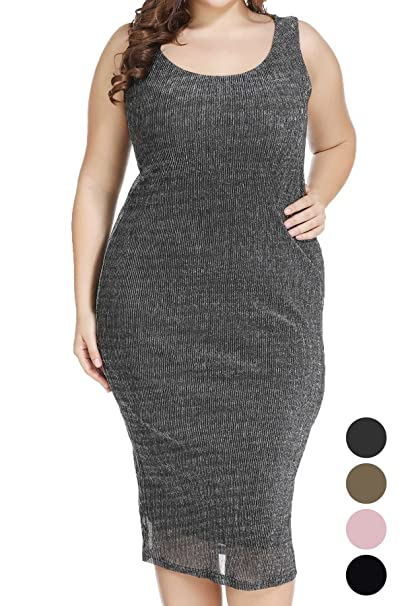 Plus Size Women Dress Sparkle Swing Loose Midi Dress for ...