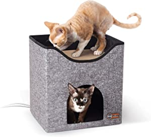 Thermo-Kitty Playhouse & Duplex Heated Cat House & Cat Scratcher