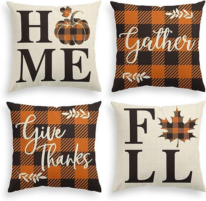 AVOIN Home Fall Buffalo Check Plaid Pumpkin Maple Leaf Throw Pillow Cover, 18 x 18 Inch Autumn Give Thanks Gather Farmhouse Cushion Case for Sofa Couch Set of 4