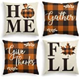 AVOIN Home Fall Buffalo Check Plaid Pumpkin Maple Leaf Throw Pillow Cover, 18 x 18 Inch Autumn Give Thanks Gather…
