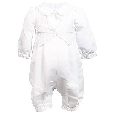 2ca10e94e NIMBLE Baby Boys Newborn Christening Baptism Infant Satin Romper  Outfit,0-12M White