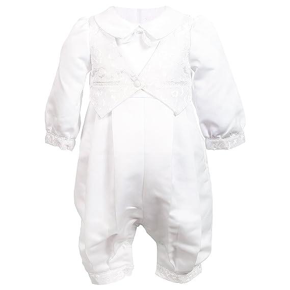 7d83c6bea5c52 NIMBLE Baby Boys Newborn Christening Baptism Infant Satin Romper ...