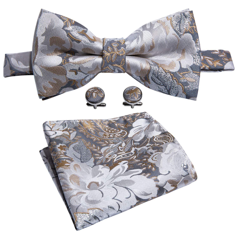 Bow Tie Floral Silk Gray Tie Hanky Cufflinks Set Designer Wedding Tie Silver Fashion